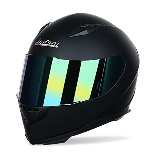 Motorrad Integralhelm Für Damen Unisex Erwachsene Kompakter Leichter Motorrad Street Bike Helm Mit Extra Getöntem Visier DOT/ECE Approved Herren Motocross Helme,A,L