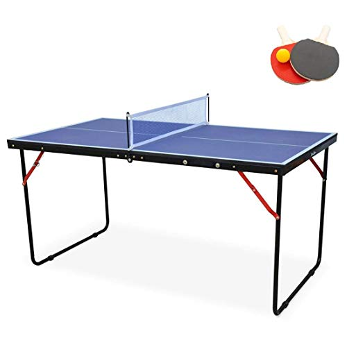 KL KLB Sport Table Tennis Table Midsize Foldable & Portable Ping Pong Table Set with Net and 2 Ping Pong Paddles for Indoor Outdoor Game