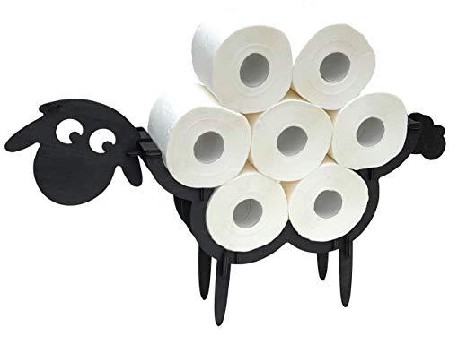 DanDiBo Toilettenpapierhalter Schwarz Holz Schaf WC Rollenhalter Klopapierhalter Stehend WC Papierhalter Toilettenrollenhalter