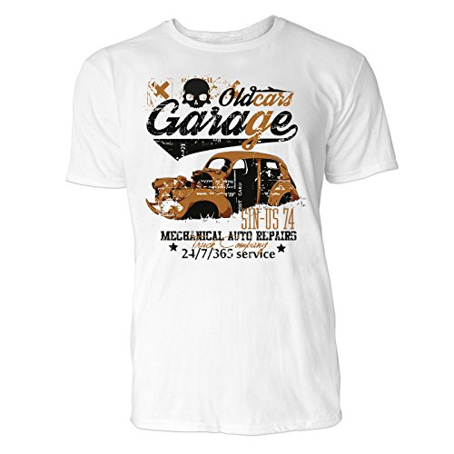 Heren T-shirt Old Cars Garage (wit) Vrijetijds/sport/club T-shirt Crew Neck NOOS Original