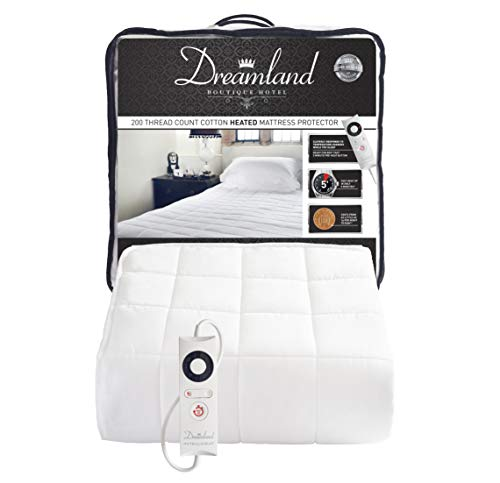 Dreamland Intelliheat Boutique Hotel 200 Thread Count Cotton Heated Mattress Protector, 16438, Electric Blanket, Size Single 190 X 90 Cm, Elasticated Skirt Fits Up To 38Cm Depth Mattress