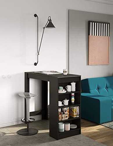 Temahome Aravis Table Bar Avec Rangements, Panneaux de Particules Mélaminés, Noir et Béton, 115 X 50 X 102,7 cm (LxPxA)