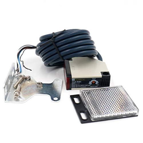 Woljay Interruptor de sensor fotoeléctrico E3JK-R4M1 DC 12-24V / AC 90-250V con reflector 4M