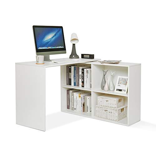 Mondeer Eckschreibtisch, Computertisch L-Förmig mit 4 Ablagen Großer Umkehrbarer Winkel Links/Richtig 106 x 106 x 74,5cm fürs Arbeitszimmer Wohnzimmer Büro (Weiß)