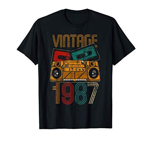 34 Cumpleaños Hombre Mujer 34 Años Vintage 1987 Camiseta