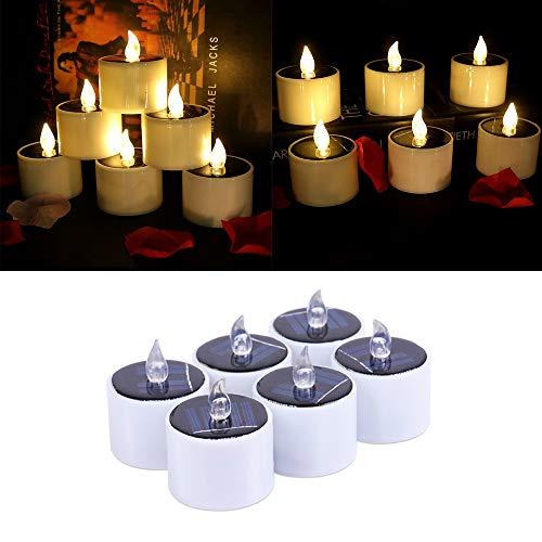 FORNORM 6 Stück Solar Kerzen Teelichter, Realistische Flammenlose Kerzen Außen Solarkerzen Kerzenlicht Lampe wasserdichte Kerzen Teelichtkerzen für Hochzeitsdekoration, Warm Weiß Licht