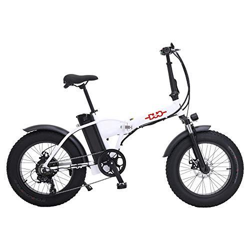 HUAEAST Vélos électriques Mountain Snow E-Bike Cyclisme sur Route,20 Pouces Fat Tire 7 Vitesses Système de Frein à Disque mécanique (Blanc)