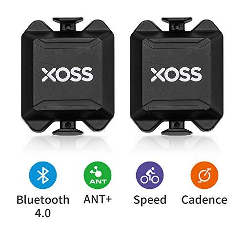 XOSS Trittfrequenz- / Geschwindigkeitssensor für Fahrradcomputer-Smartphones Bluetooth/ANT + Dual-Modus Radfahren Fahrrad Wireless (Cadence/Speed Sensor x2 Pack)
