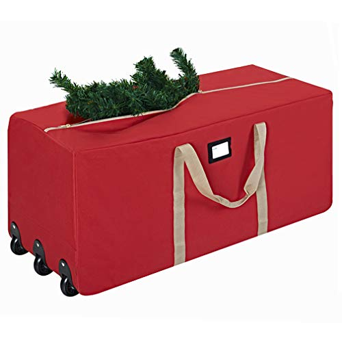 ProPik Holiday Rolling Tree Storage Bag, Fits Up to 9 ft. Tall Disassembled Tree, 25' Height X 20' Wide X 60' Long, Extra Large Heavy Duty Storage Container with Wheels and Front and Side Handles