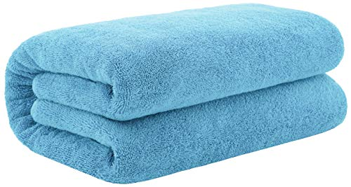 40x80 Inches Jumbo Size, Thick & Large 650 GSM Ringspun Genuine Cotton Bath Sheet, Luxury Hotel & Spa Quality, Absorbent & Soft Decorative Kitchen & Bathroom Turkish Towels, Sky Blue