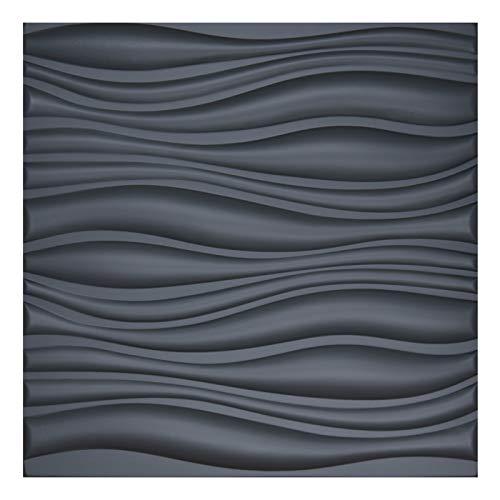Art3d 3D Lederfliesen Decoartive 3D Wandpaneele schwarz gewellt, 59,9 x 59,9 cm, 6 Stück