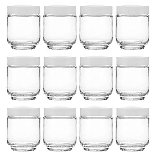 Hedume 12 Pack 6oz Clear Glass Jars with White Lids for Spices, Party Favors, Jams etc.