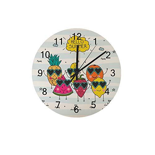 HaoXiang Wanduhr für Innendekoration Hello Summer Fruit Holz Uhr 30x30x0,5 cm