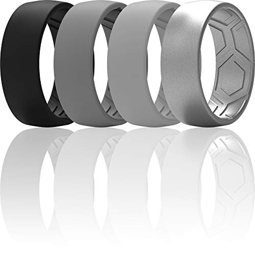 ThunderFit Silicone Rings for Men - 4 Rings Breathable Patterned Design Wedding Bands 8MM (Black, Dark Grey, Grey, Silver, 8.5-9 (18.9mm))