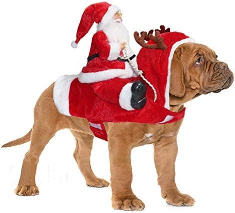 BWOGUE Santa Dog Costume Christmas Pet Clothes Santa Claus Riding Pet Cosplay Costumes Party product image