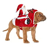 BWOGUE Santa Dog Costume Christmas Pet Clothes Santa Claus Riding Pet Cosplay Costumes Party Dressing up Dogs Cats Outfit for Small Medium Large Dogs Cats