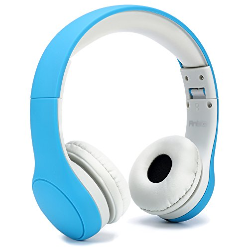 Anble Kids Headphone Over Ear, Wired Headsets with Microphone with 93dB Volume Limited, 3.5mm Audio Sharing Jack Cable, Foldable Children Headphone for iPhone iPad Amazon Fire 7 8 - Blue