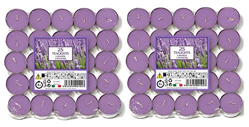 Price's Candles - Aladino Lavender Scented Tea Lights 50 Pack - 021937D