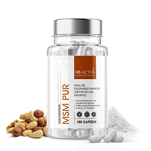 MSM Pur von HS Activa | Hohe Reinheit von 99,94% | 180 Kapseln | 750 mg MSM pro Kapsel | Laborgeprüft und ohne Zusatzstoffe
