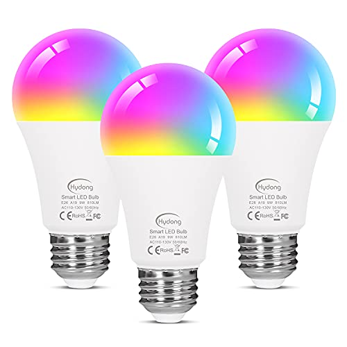 Smart Light Bulbs Work with Google Home Alexa Echo and Siri, WiFi Color Changing LED Lights Bulbs Dimmable, A19 E26 9W Tunable White 2700-6500K, 80W Equivalent, No Hub Required, 3 Pack