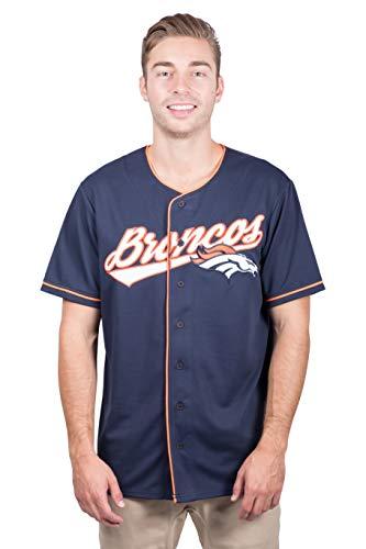 Ultra Game NFL Denver Broncos Mens Mesh Baseball Jersey Tee Shirt, Team Color, X-Large