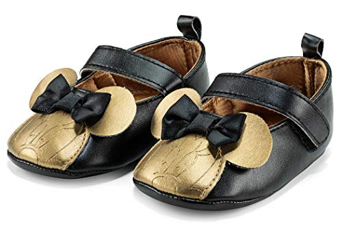 Disney Minnie Mouse Mary Jane Black and Gold Infant Soft Sole Crib Shoes - Size 9-12 Months