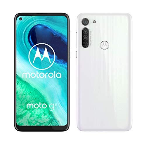 """Motorola Moto G8 - Smartphone de 6,4"""" HD+ o-notch, 4G, Qualcomm Snapdragon SD665, Sistema de cámara triple, 64 GB, 4 GB RAM, Android 10 - Color Blanco [Exclusiva Amazon]"""