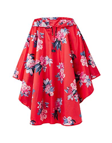 Joules Women's 30th Anniversary Poncho Rain Cover-Up (Floral Red)