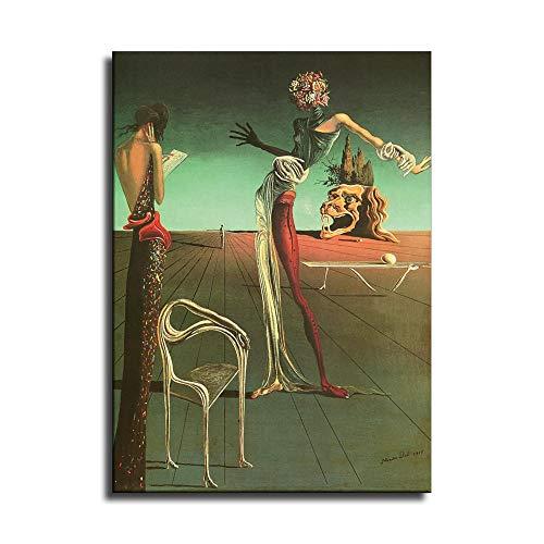 Póster de Salvador Dali Mujer con Rosas Lienzo Art Poster y Wall Art Picture Print Modern Family Bedroom Decor