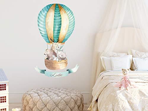 GRAZDesign Wandtattoo Babyzimmer Namen Heißluftballon Mint - Wandbild über Bett - Wandsticker Wand Deko für Kuschelecke im Kinderzimmer Jungen / 94x57cm