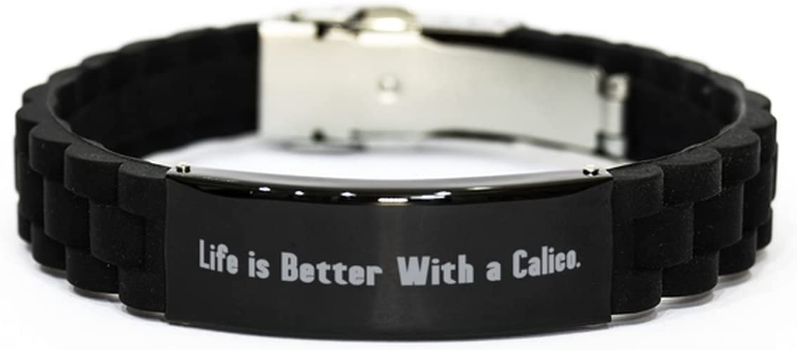 Love Calico Cat Black Glidelock Clasp Bracelet, Life is Better, Gifts for Friends, Present from Friends, Engraved Bracelet for Calico Cat