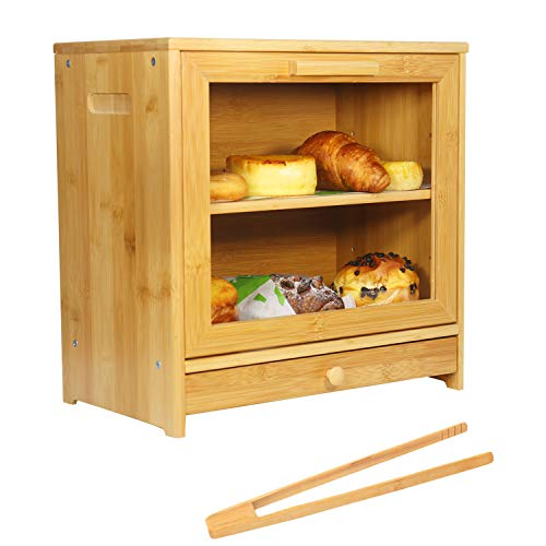 GENOVESE Bamboo BreadBox with Clear Front Window - Farmhouse Style Bread Holder for Kitchen Counter - Double Layer Bread Storage Bin Holds 2 Loaves (Self-Assembly)