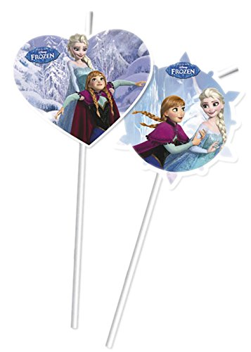 Procos 6 Trinkhalme * Frozen Ice Skating * für Kindergeburtstag oder Motto-Party // Kinder Geburtstag Party Drinking Straws Strohhalm Motto Disney ELSA Anna Olaf...