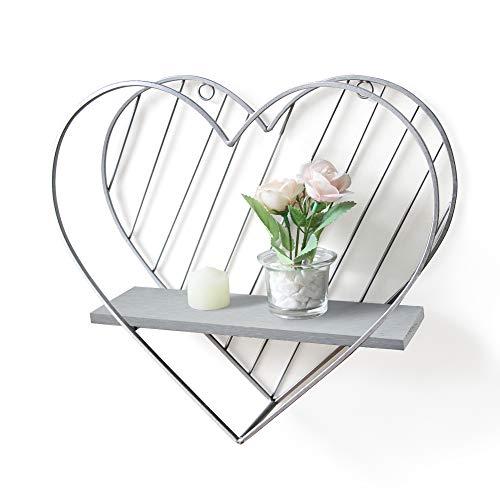 Afuly Floating Shelf Grey Shelves for Wall Metal Heart Silver Farmhouse Design for Bedroom Bathroom Toilet