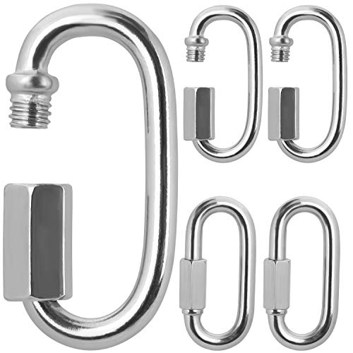 BELLE VOUS Stainless Steel Screw Quick Link M8 Carabiner Chain Connectors 5 Pack 74cm291 inch Heavy Duty Oval D Shape Locking Clips for OutdoorsIndoors Camping Hiking Accessories