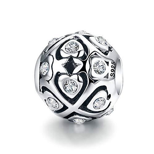 AAA Kubieke Zirkoon Kralen Echt 100% 925 Sterling Zilver Hart Lichtgevende AAA Zirkoon Kralen fit Charm Armband Valentijnsdag Gift S925