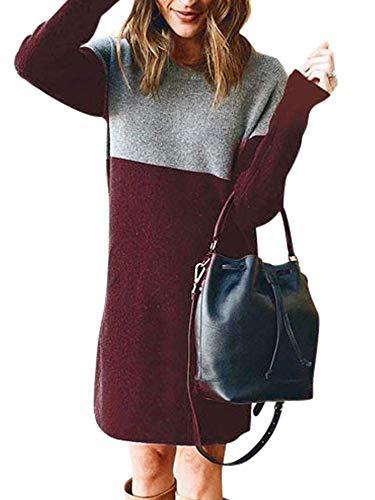 LAYAN-B Sudadera larga con cuello redondo para mujer, estilo informal, color block