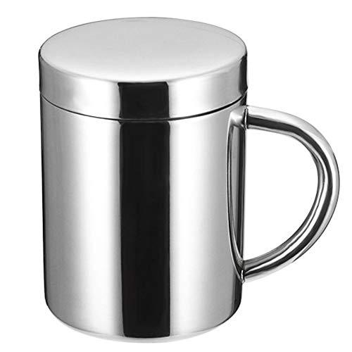 304 Taza de la Taza de Cerveza de Acero Inoxidable Double Anti-Scalding Water Cup Oficina Copa de café Aislamiento con Taza de Tapa Taza de la Boca,200ml
