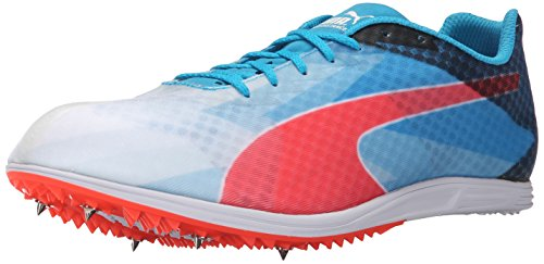 PUMA Men's Evospeed Distance 6 Sneaker, White/Atomic Blue/Red Blast, 11 D US