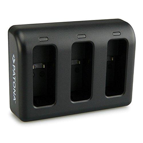 PATONA Triple Lader voor AHDBT-501, AABAT-001 Batterij compatibel met GoPro Hero 5, Hero 6, Hero 7, met micro USB