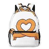 BYTKMFD Sac à dos léger pour l'école, le sport, les voyages, Teckel et cœur, taille unique