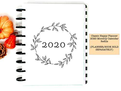 2020 Monthly Refills for 9-Disc Classic Happy Planner, Monthly Calendar Refills for Classic Happy Planner (PLANNER AND MONTHLY TABS ARE NOT INCLUDED)