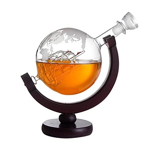 SoeHong 850 ml de whisky decantador globo para Bourbon Vodka dispensador de copa de vino mapa del mundo dispensador de licor hombre mujeres bar banquete regalo