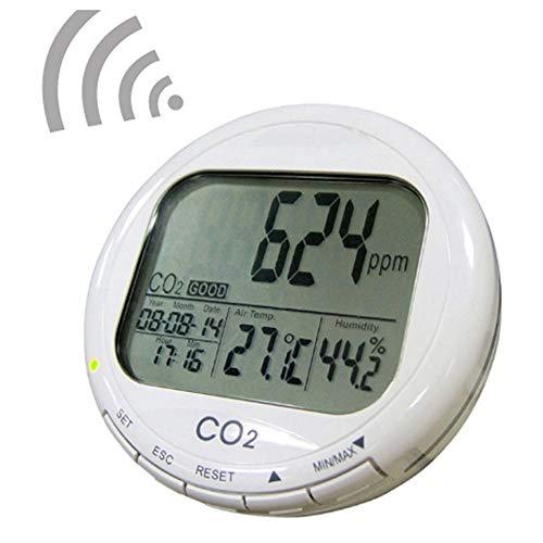 GMKD Digital-Kohlendioxid-Tester, 3 in 1 Desktop Kohlendioxid/Feuchte/Temp Meter mit akustischem Alarm, Smart-Indoor Air Quality Monitor mit Datum und Uhrzeit für Start