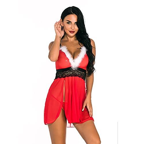Lenfeshing Camisón de Malla con Cuello de Pico de Moda para Mujer con Dobladillo Rajado Traje de Lencería Sexy con Costuras de Encaje con Bragas