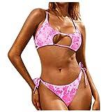DKNBI Bikini Set Mujer Sexy Hollow Two Piece Bloque de Color Tie Dye Print Lace Up Strappy Swimsuit Pink Bikini