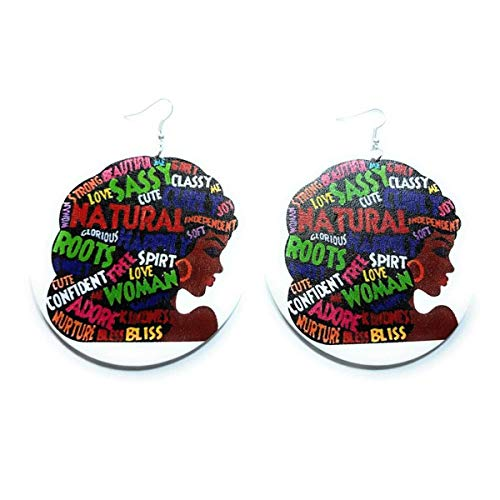 Teri's Boutique Afro Black African American Portrait of Beautiful Ethnic Style Decorative Fashion Dangle Big Earrings (White)