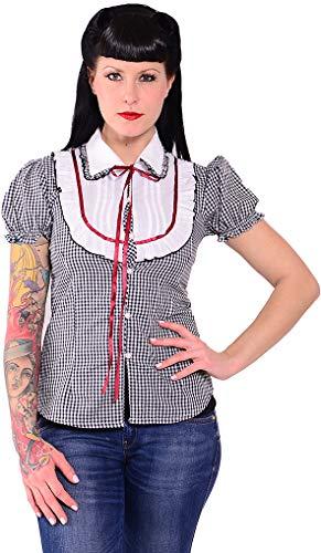 Unbekannt Damen Oberteil Gingham Pepita Vintage Bluse Schwarz/Weißes Pepitamuster S