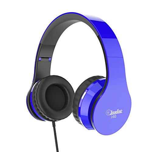 Elecder i40 Headphones with Microphone Foldable Lightweight Adjustable Wired On Ear Headsets with 3.5mm Jack for Cellphones Laptop Computer Smartphones MP3/4 Kindle School (Blue/Black)