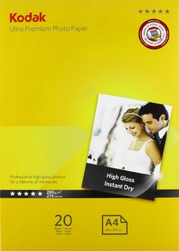 Kodak 5740-085 Ultra Premium Photo Paper, Carta Fotografica Gloss, A4, 280 g/m², 20 Fogli, Bianca